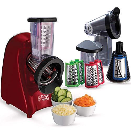 Russell Hobbs Slice & Go - Picadora 200 W, Accesorios Rallador y Cortador de verduras, Inox, Rojo...