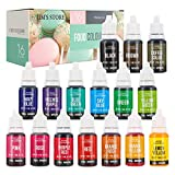 Jim's Stores Set de Colorante 16*10ml,Alta Concentración Liquid Set para Colorear los Bebidas Pasteles Galletas Macaron Fondant