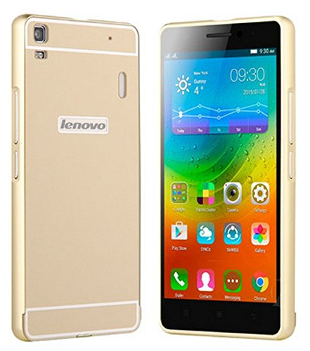 Prevoa LENOVO K3 NOTE Funda - Aluminum Bumper Funda PC Back Case para LENOVO K3 NOTE de 5.5 pulgadas Smartphone - Oro