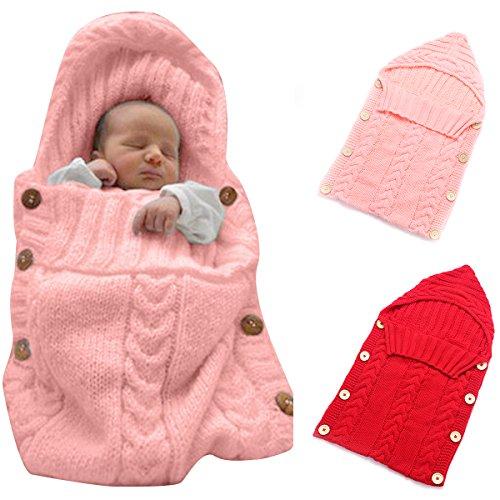 Colorful neonato, coperta, Oenbopo Baby per bambini maglia di lana Coperta Swaddle sacco a pelo sacco nanna passeggino, per neonati da 0-12mesi Pink
