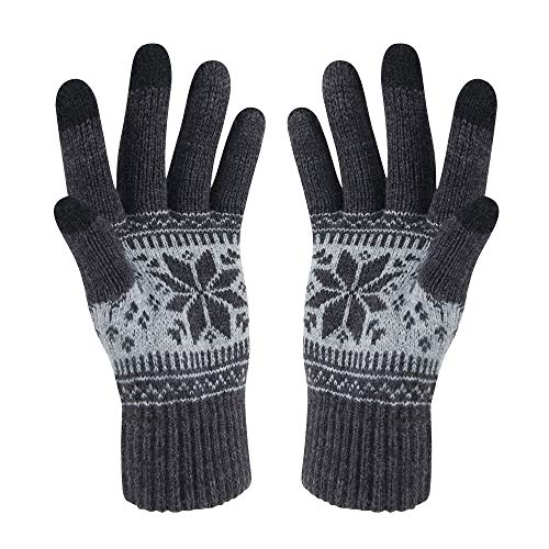 VENI MASEE Weihnachten Damen Hereen Snowprint Keep Warm Smartphone Touch Screen Handschuhe