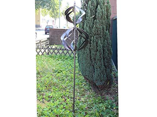 HAFIX Windrad Metall Windspiel Metallwindrad Doppelwindrad Gartendeko rund Wind Mühle mit Erdspieß