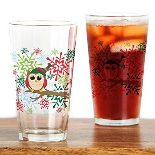 CafePress–Weihnachten Eule–Pint-Glas, 16oz Trinkglas farblos