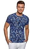 oodji Ultra Herren T-Shirt mit Paisley-Muster, Blau, M