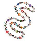 Multicoloured Shell & Imitation Pearl Bead Long Necklace - 120cm Length