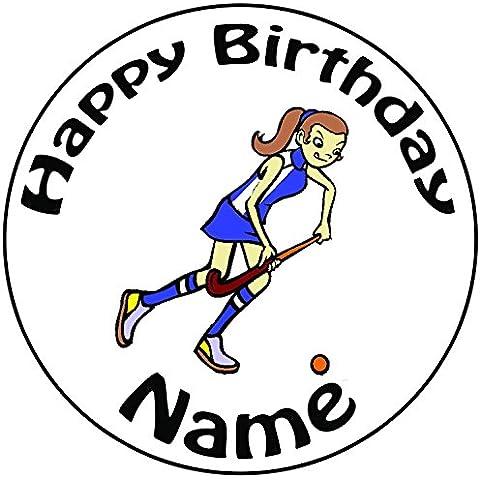 Personalizzato giocatore di hockey–Topper per torta a pre-cut rotondo 8