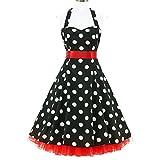 shoperama 50er Jahre Rockabilly-Kleid Chloe Vintage 50' Retro Polka Dots Retro Fifties Petticoat, Größe:40