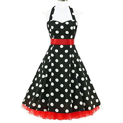 shoperama 50er Jahre Rockabilly-Kleid Chloe Vintage 50' Retro Polka Dots Retro Fifties Petticoat, Größe:34