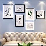 GUOOK Cornice Decorativa Foto Set Soggiorno Divano Foto Muro Creativo Appeso A Parete Decorazione con Orologio