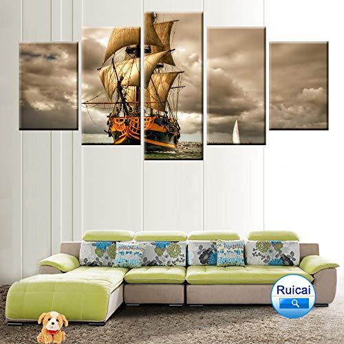 WEMUR Haiyun Segeln Landschaft Poster Leinwand Malerei 5 Panel HD Druck Dekoration Wohnzimmer Schlafzimmer Wandkunst Gürtel with_Frame_40X60_40X80_40X100cm -
