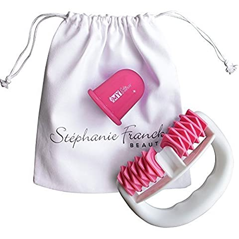 My Set Minceur et AntiCellulite - Roller+Ventouse+Pochette en coton - Traitement amincissant efficace sur les jambes, le ventre, hanches, fesses et bras.
