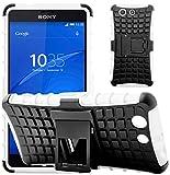 G-Shield Hülle für Sony Xperia Z3 Compact Stoßfest Schutzhülle mit Ständer - Weiß