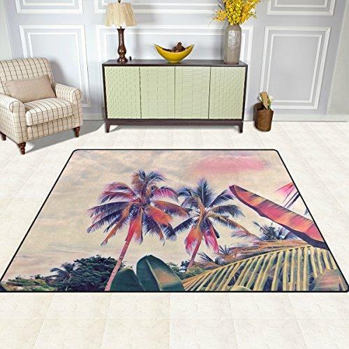 doshine Bereich Teppiche Matte Teppich 4'X5', Hawaiian Tropical Beach Palm Tree Polyester rutschfest Wohnzimmer Esszimmer Schlafzimmer Teppich Eingang Fußmatte Home Decor, multi, 5'x7'