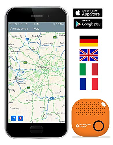 musegear® Schlüsselfinder mit Bluetooth App I Version 2 I Keyfinder laut für Handy in orange I GPS Ortung/Kopplung I Schlüssel Finden