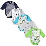 TupTam Unisex Baby Langarm Wickelbody Baumwolle 5er Set , Farbe: Junge 4, Größe: 62