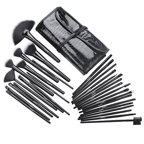 Cadrim 32 Teile Make Up Pinselset mit Etui, Makeup Bürsten Foundation Lidschatten Eyeliner Lippen Make-up Pinsel Kosmetik Set