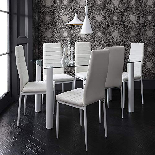 Tavolo In Vetro Con 6 Sedie.Tavolo Da Pranzo In Vetro Con 6 Sedie In Similpelle White