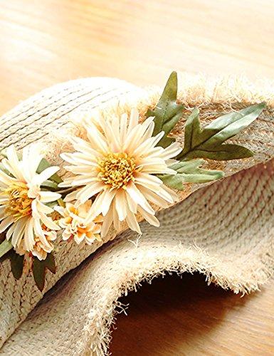 Fleurs pliantes Le long du chapeau de chapeau de paille Chapeau de soleil de vacances de plage de femme Chapeau de soleil déchiré ( Couleur : 2 ) 1