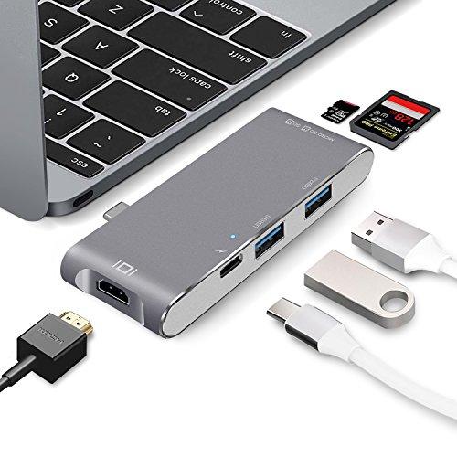 """WolinTek USB C Hub MIT 4K HDMI, SD und Micro SD/TF Kartenleser, 2 USB 3.0 Anschlüsse, USB C Ladeanschluss USB Type C Hub für Apple MacBook 12"""", MacBook Pro 13"""" 15"""" 2016/2017 - Space Grau"""