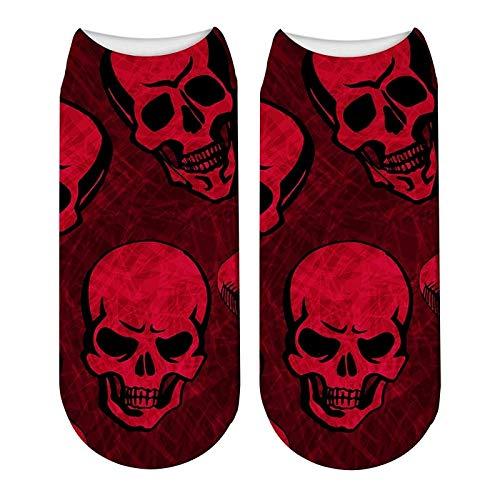 NANAYOUPIN Bequeme Baumwoll Socken (5 Paare) Weiblicher Schädel 3D Druck Halloween Socken Lustige Kürbislaterne Socken Knochen Horror Scary Socken Cosplay Party Geschenk Kurze Sock