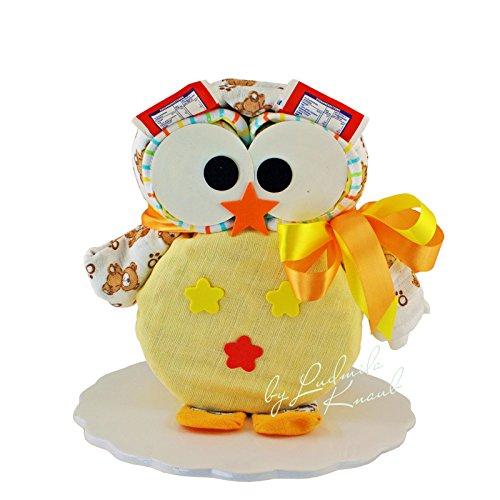 Windeltorte - Windeleule / Pamperstorte > Babygeschenk für Mädchen und Jungen in schönem Gelbton // Geschenk zur Geburt, Taufe, Babyparty // originelles und praktisches Geschenk für Babys