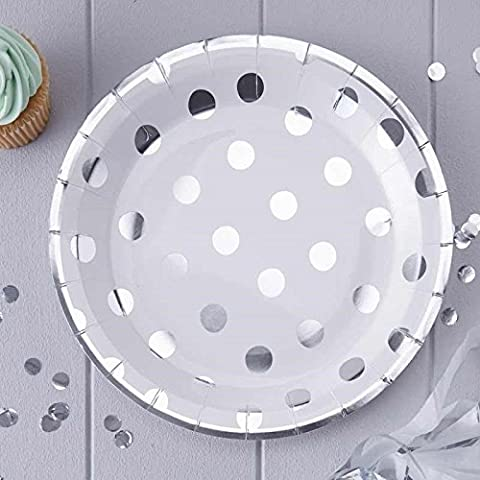 Pick and Mix - Silver Foiled Polka Dot Paper Plates