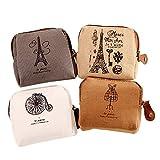 Dosige 4 Stück Mini Täschchen Leinwand Münzen Tasche mit Reißverschluss für Kinder Mädchen und Damen