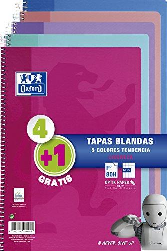 Oxford - Pack de 5 cuadernos (tapa blanda, 80 hojas, cuadrícula 4x4 con margen,...