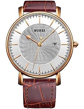 BUREI® Unisex Ultradünnes Quarz Uhr Rotbraun Kalbslederarmband, weißes Drehwuchs-Ziffernblatt kratzfestes Saphirglas