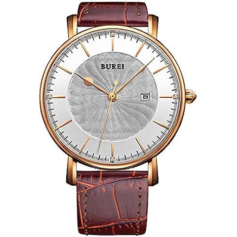 BUREI Herren Quarz Armbanduhr Ultra Thin mit Datum und Lederarmband (rose gold)