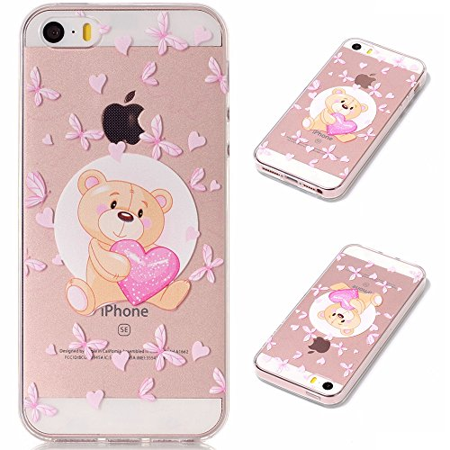 Coque pour Apple iPhone SE 5S / 5 , IJIA Transparent Coloré Fleurs TPU Doux Silicone Bumper Case Cover Shell Housse Etui pour Apple iPhone SE 5S / 5 XY18