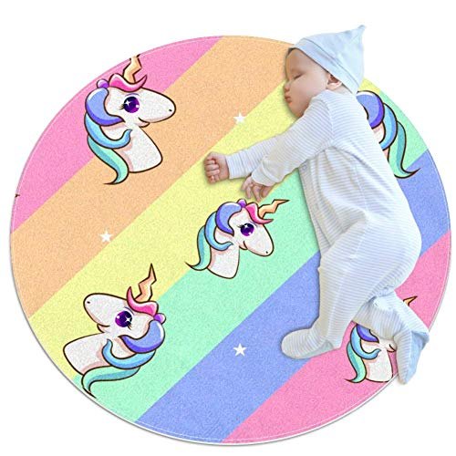 Indimization El Unicornio 12 Alfombra Redonda decoración de Arte Antideslizante niños Lavables a máquina de Almohadilla Suave Sala de Estar Dormitorio Estudio Sala de Juegos para 100x100cm
