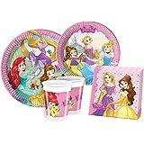 Ciao Y2515 - Kit para mesa de fiesta Princesas Disney para 24 personas (112 piezas: 24 platos grandes, 24 platos medianos, 24 vasos, 40 servilletas)