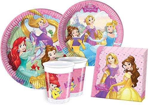 Ciao Y2515 - Kit Party Festa in Tavola Disney Princess per 24 Persone (112 Pezzi: 24 Piatti Grandi, 24 Piatti Medi, 24 Bicchieri, 40 Tovaglioli)
