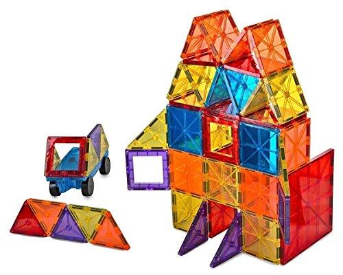 Mag-Genius Award Winning building Tiles Clear Colours 3D Brain Building Blocks (105 Pieces) -