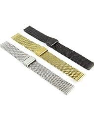 Time4Deals® 18 20 22 24 mm inox maille Bracelet Wrist Watch Band sangle Interlock fermoir de sécurité (Noir, 18MM)