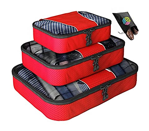 Packing Cubes - 4 pc Value Set Luggage Organizer +