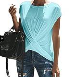 ZFFde Mode Kurzes Top-T-Shirt Knoten Vorderen unregelmäßigen Hem Plissee T-Shirts Frauen Kurzarm Sommer Basic Tee für Dich (Farbe : Blau, Größe : M)