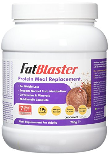FatBlaster Chocolate, Whey Protein, Meal Replacement, Diet Shake, 22 Essential Vitamins, Nutritionally complete, For Men & Women – 700g (14 Servings)