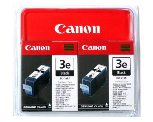 Canon BCI-3EBK, 2er Pack,Tintenpatrone für Drucker (Schwarz, i550, i850, Multipass MP700/C755, PIXMA IP3000/4000/5000, S400/500/600/750, Tintenstrahl, 10-70%, 10-35°C) - Canon Bci-3 Inkjet-patrone