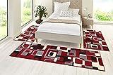 HANSE Home 102014_1x 70x240 Teppich Läufer Bettumrandung Brücke, Polypropylen, rot grau schwarz Creme, 70 x 140 x 0.9 cm