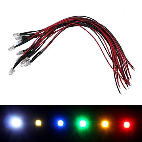 10x Superhelle LEDs 5mm für 24V ; 20cm Kabel ; Rot