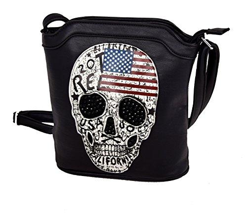 IWEA Damen Handtasche Clutch kleine Damentasche Umhängetasche Totenkopf USA Skull Strass Design IW062, Schwarz (Strass-totenkopf Handtasche)