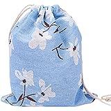 Westeng Cordon de serrage Sacs en coton et lin Sacs Pouch Cadeau Sacs Chaussettes Sous-vêtements Sac de rangement Narcisse Impression Bleu, Drap en coton, bleu, Taille L