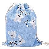 Laat Rangement multi-fonctionnels sacchetto in tela borsa a cavo riutilizzabile a l' Ecolabel sacchetto a Cinch grande capacità–Blu Narcisi, Cotone, Bleu jonquilles, 19X24CM