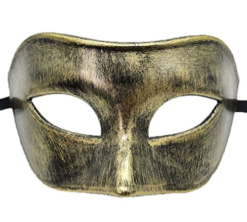 Coolwife Mens Maskerade Maske Griechisch RöMisch Partei Maske Karneval Halloween Maske (Antikes schwarzes Gold) (Antike Griechische Kostüm Männer)