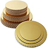 HOME REPUBLIC-Combo 8 INCH,9 INCH,10 INCH Round Cake Board,Base, 15 Piece Premium Gold Cake Circles, Corrugated, Cake Board, Gold