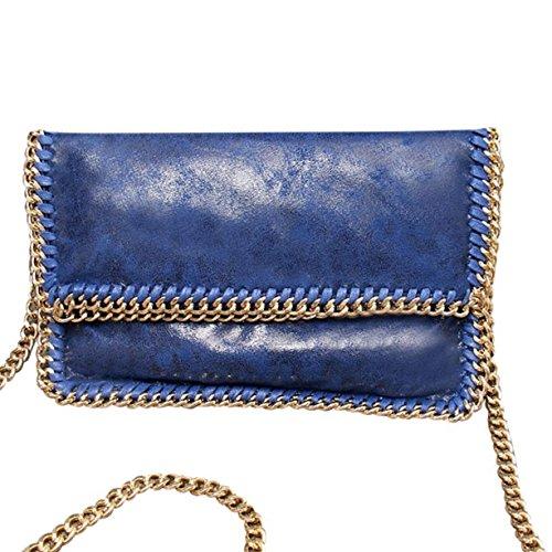 HandbagCrave® Nisha Catenina doro Hardware Borsa a tracolla Pochette Blu