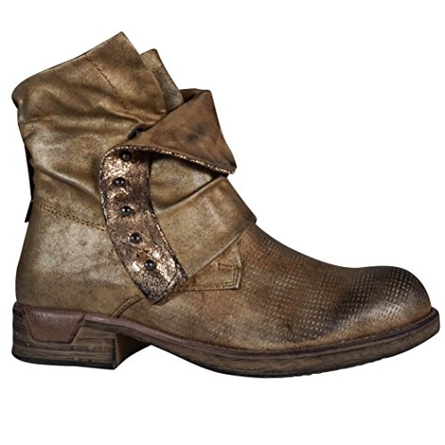 Damen Worker Stiefeletten Stiefel Boots Biker Outdoor Gold metallic ST315