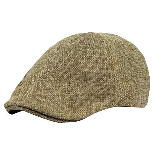 bermütze Damen Linen Herren Kappen Flat Cap Newsboy 20er Jahre Driving Hat Neutrale Casual Unifarben Baskenmütze Schirmmütze (Color : Khaki, Size : One Size) ()
